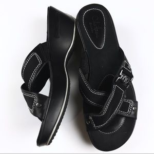 Cole Haan Air Alta High Slides Black Wedge Sandal